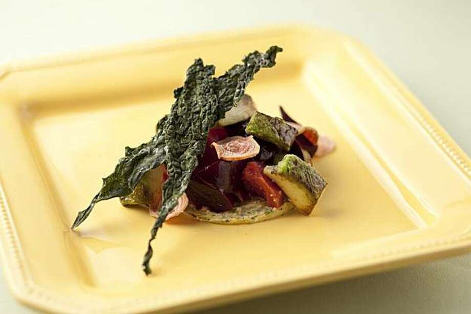 Slow-roasted forono beets with smoked blue cheese, seared bacon avocado and kale chips (Aaron London, Ubuntu) as seen in San Francisco, California, on February 2, 2011. Food styled Kelly Rae Hickman. Photo: Craig Lee, Special To The Chronicle
