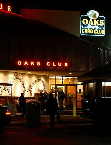 The entrance to Oaks Card Club in Emeryville. Photo: Darryl Bush, The Chronicle