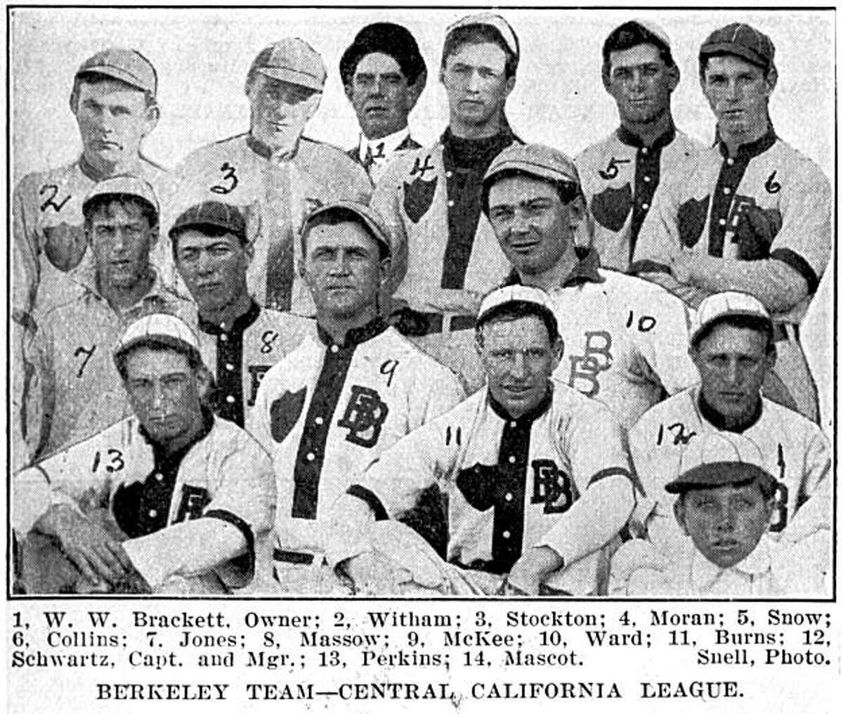 California baseball had a Central League and Berkeley had its own team. This photo documents its players. Photo from Richard Schwartz's book 'Berkeley 1900: Daily Life at the Turn of the Century.'