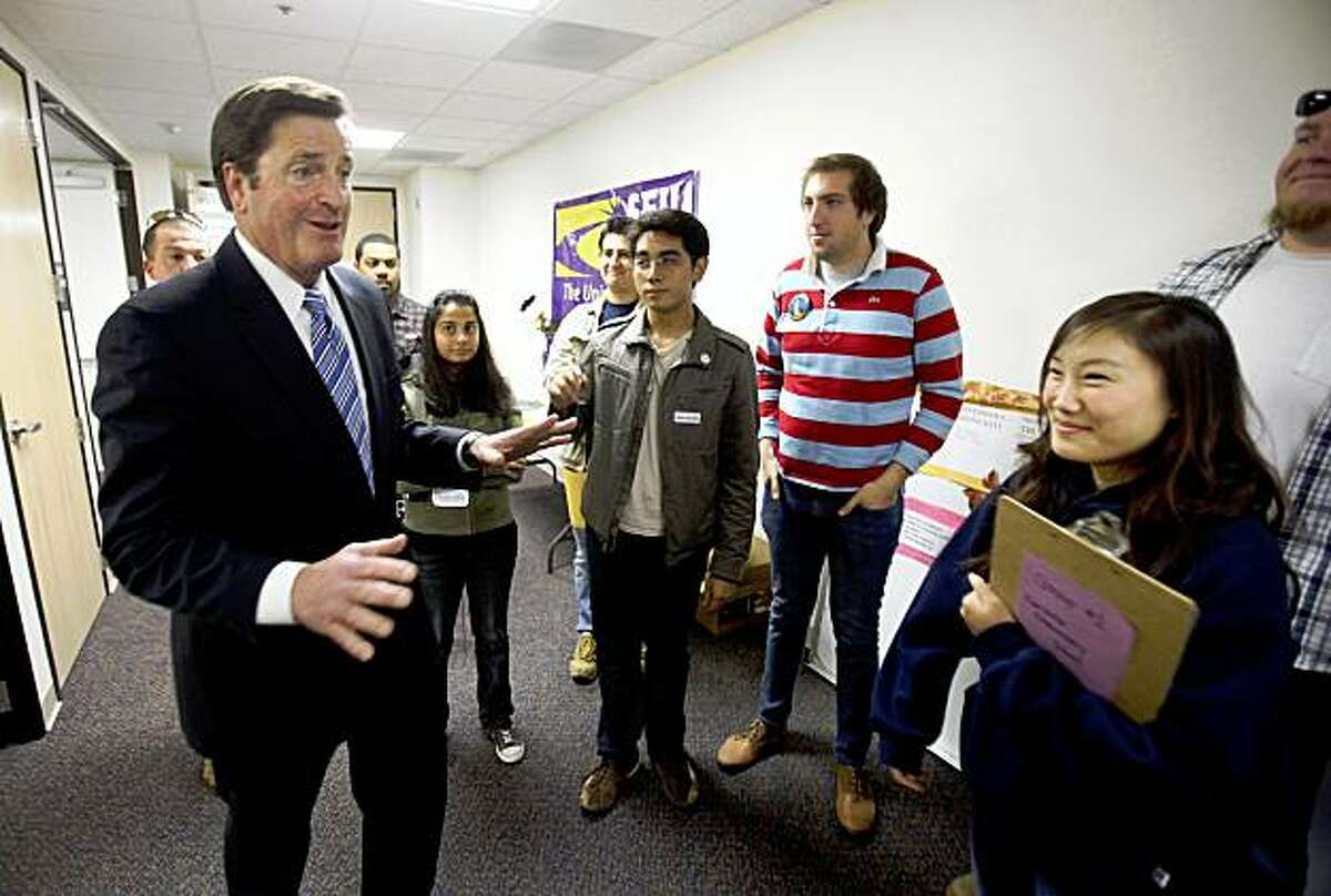 Lt. Gov. John Garamendi, the Democratic candidate for the 10th Congressional District, talks to campaign workers about getting out the vote at his campaign field office in Fairfield. Garamendi is battling Republican David Harmer in Tuesday's special election to replace Rep. Ellen Tauscher, a Democrat, who was appointed to a State Department position earlier this year.