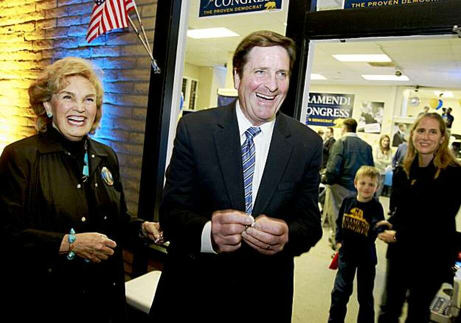 John Garamendi and his wife Patti laugh as they open a fortune cookie and found good news. Lt. Gov John Garamendi arrived at his Walnut Creek headquarters Tuesday night waiting for the results from the 10th Congressional district race. Photo: Brant Ward, The Chronicle