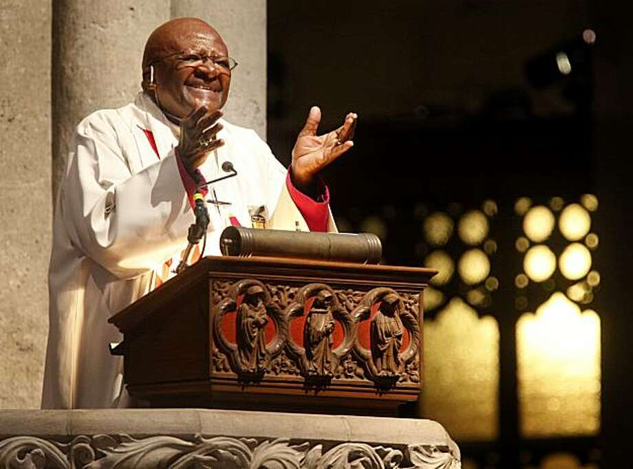 The Bishop Desmond Tutu  talked about using transfiguration in our everyday lives. Bishop Desmond Tutu of South Africa gave the sermon Sunday March 6, 2011 to a packed Grace Cathedral in San Francisco, Calif. Photo: Brant Ward, The Chronicle