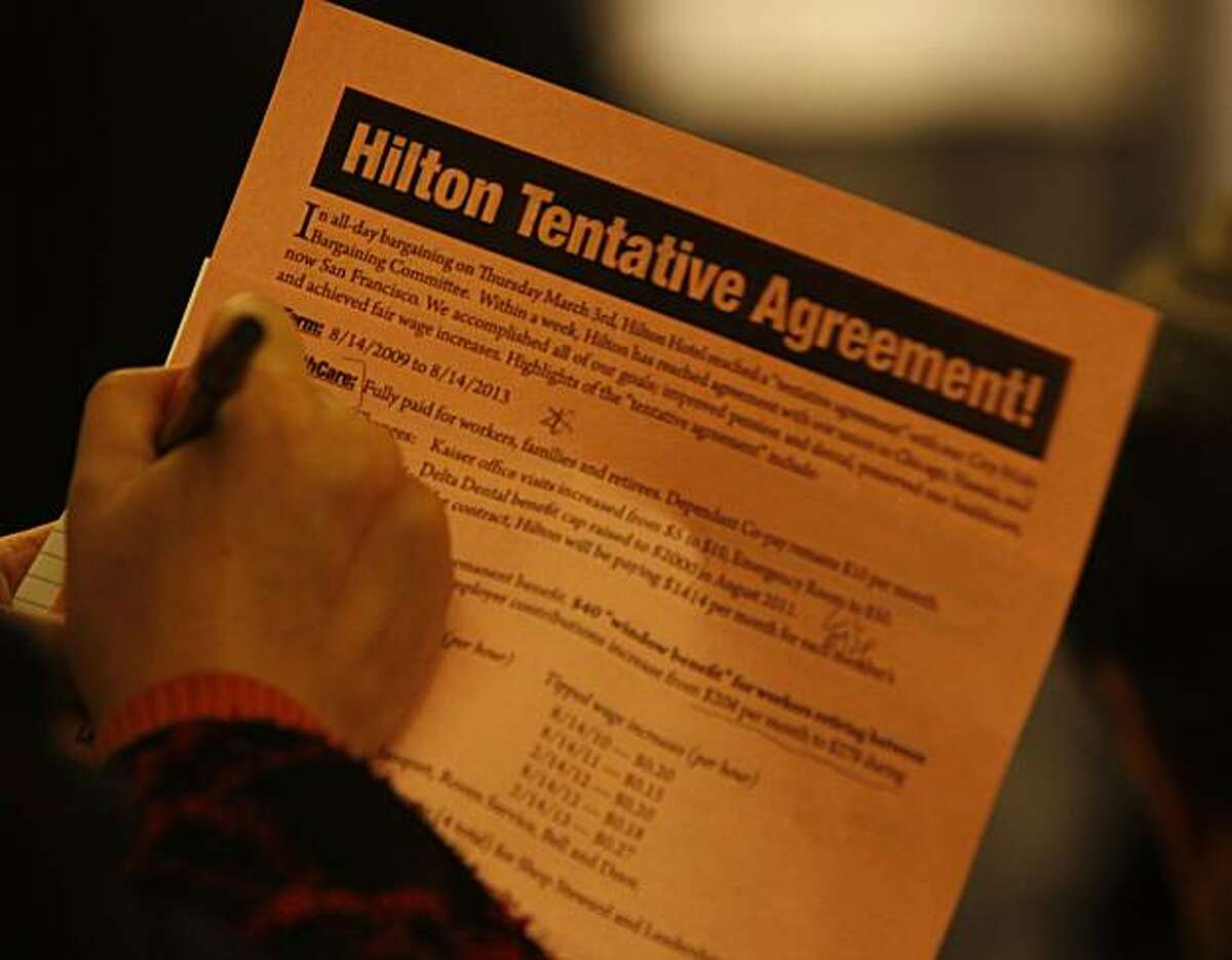 Copies of the Hilton Tentative Agreement were passed out to union workers and members of the media. Members of the Unite Here Local 2 union hold a press conference at the Hilton Hotel, 333 O'Farrell Street, to announce the details of a tentative agreement between the union and Hilton Hotel chain, ending an 18-month labor dispute.