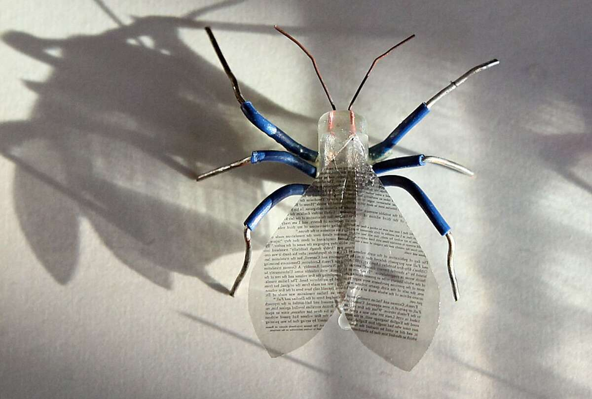 Aimee Baldwin made this winged insect, 2006--electric wire, christmas light bulb, microfilm--during a salvage art project in Berkeley, Calif., on Tuesday, December 13, 2011.