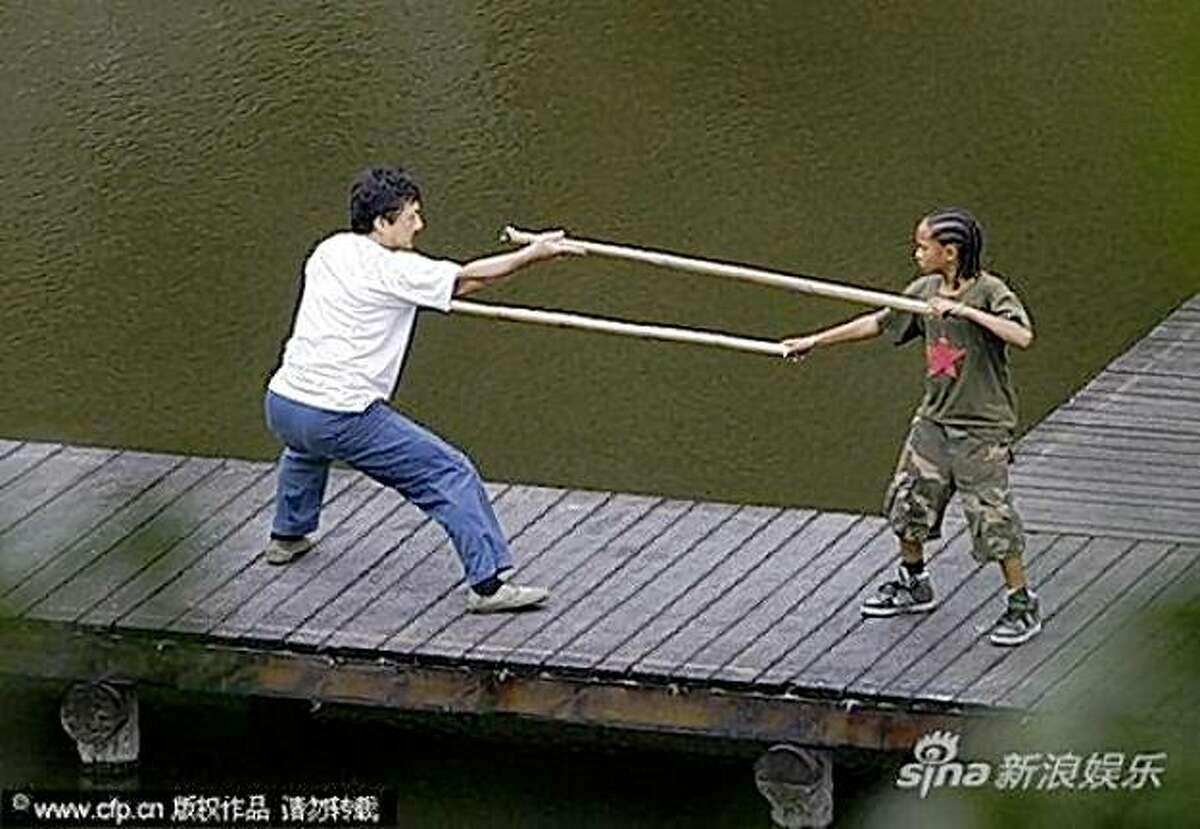 Photo of Jackie Chan training with Jaden Smith as