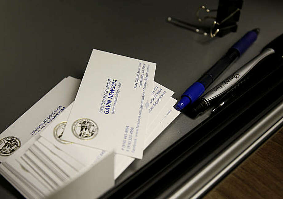 Gavin Newsom has some business cards, but little else to identify him at his new desk. California state Lieutenant Governor Gavin Newsom has a new office on Third Street in the south of Market area of San Francisco, Calif. Photo: Brant Ward, The Chronicle