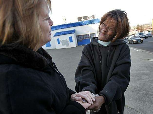 """Toothless"", a longtime prostitute (right) is embraced by Susie Foreman, who runs a local rehab home. The citizens of Vallejo, Calif., have formed watch groups to combat an increase in prostitution in their neighborhoods since the city declared bankruptcy and the police force was cut. Photo: Brant Ward, The Chronicle"