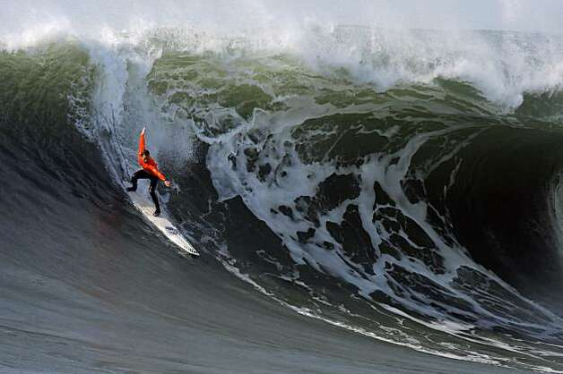 Chris Bertish rides his winning wave in the final heat of the Mavericks Surf Contest. Surfers from around the globe braved the 50-foot-high swells at Mavericks Surf Contest in Half Moon Bay, Calif., on Saturday, February 13, 2010. Chris Bertish of South Africa was selected the winner. Photo: Carlos Avila Gonzalez, The Chronicle