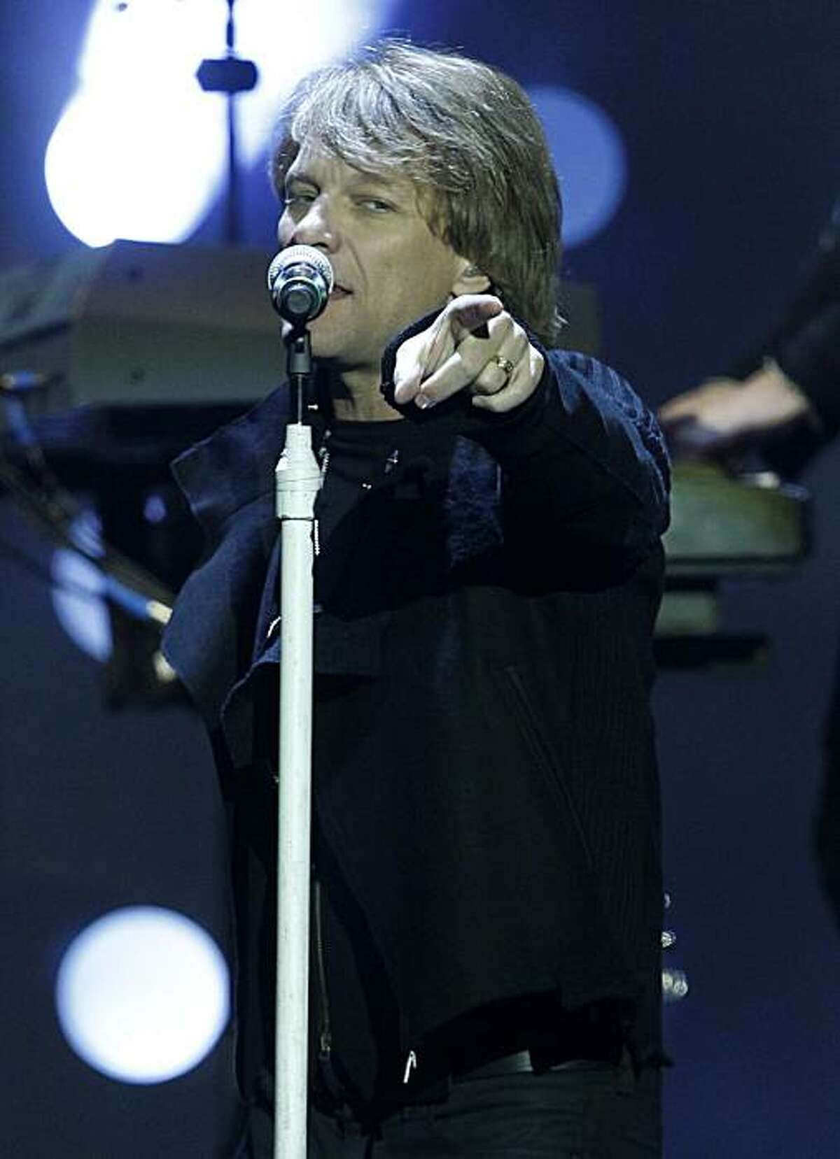 Jon Bon Jovi of the U.S. band Bon Jovi performs at the MTV European Music Awards 2010, in Madrid, Sunday, Nov. 7, 2010.