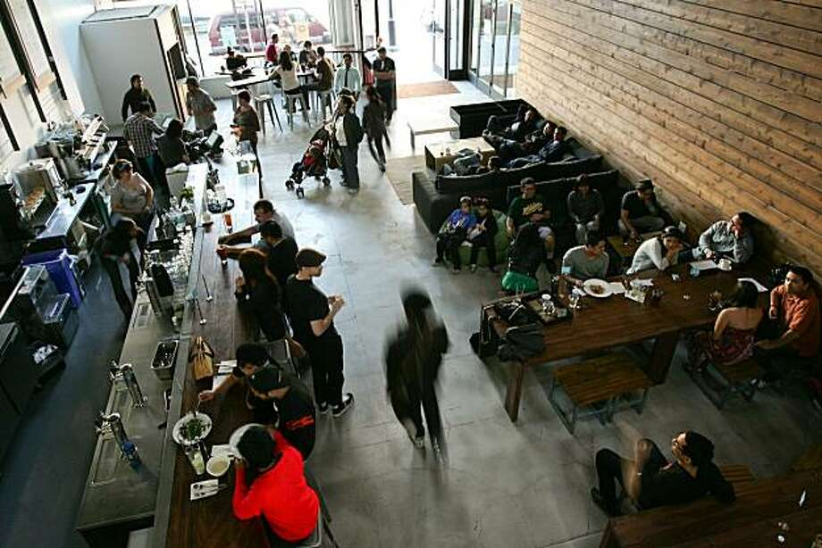 The Summit cafe provides a gathering space for techies, foodies, and yuppies, as well as housing office space that serves as a tech incubator. Photo: Waylan Choy, Rivera Public Relations
