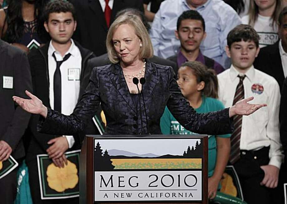 FILE - In this Nov. 2, 2010 photo, Republican gubernatorial candidate Meg Whitman concedes the election at her election night party in Los Angeles.   Dipping into their personal fortunes to finance a political campaign turned out to be a bad investment for several candidates trying to break into political office.   Whitman took the steepest gamble, spending $142 million in her effort to become California's next governor. Photo: Chris Carlson, AP