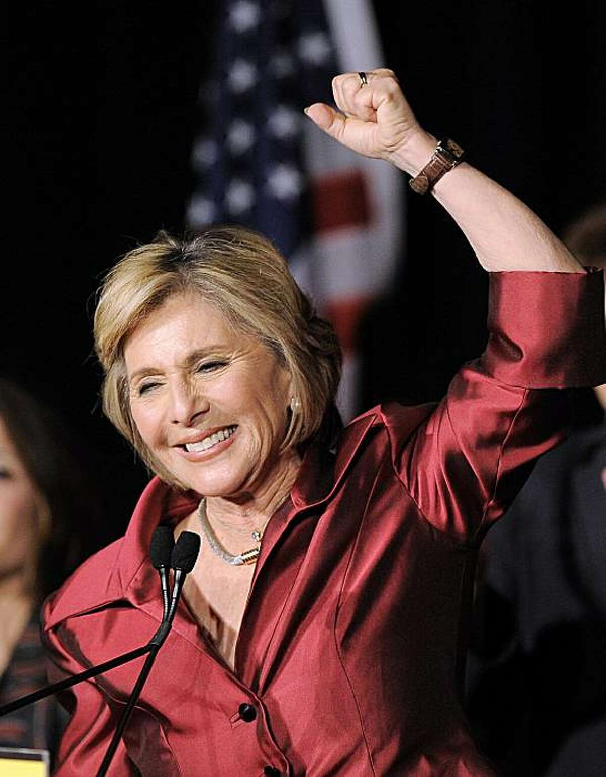 Sen. Barbara Boxer, D-Calif., waves to supporters winning re-election in her race against Calry Fiorina, Tuesday, Nov. 2, 2010, in Los Angeles.