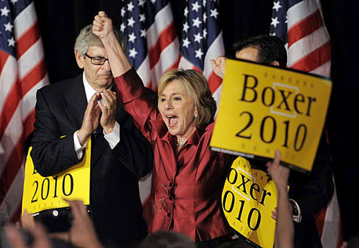 Sen. Barbara Boxer, D-Calif., cheers as she takes the stage after being projected the winner Tuesday, Nov. 2, 2010, in Los Angeles.