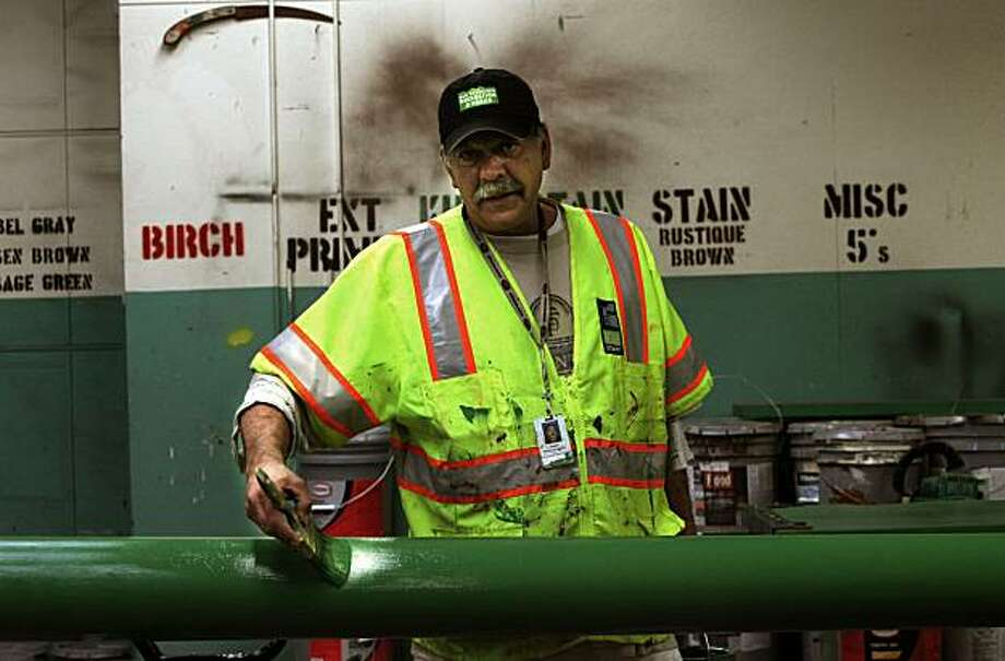 Joe Padilla supervises the paint shop at Golden Gate Park's structural maintenance yard in San Francisco, Calif., on Monday, February 14, 2011.  He's in charge of making sure the painting of all the buildings, sidewalks, signs, benches, restrooms, ... throughout the City's Parks & Recreations system (more than 220 locations) are all taken care of. Photo: Liz Hafalia, The Chronicle