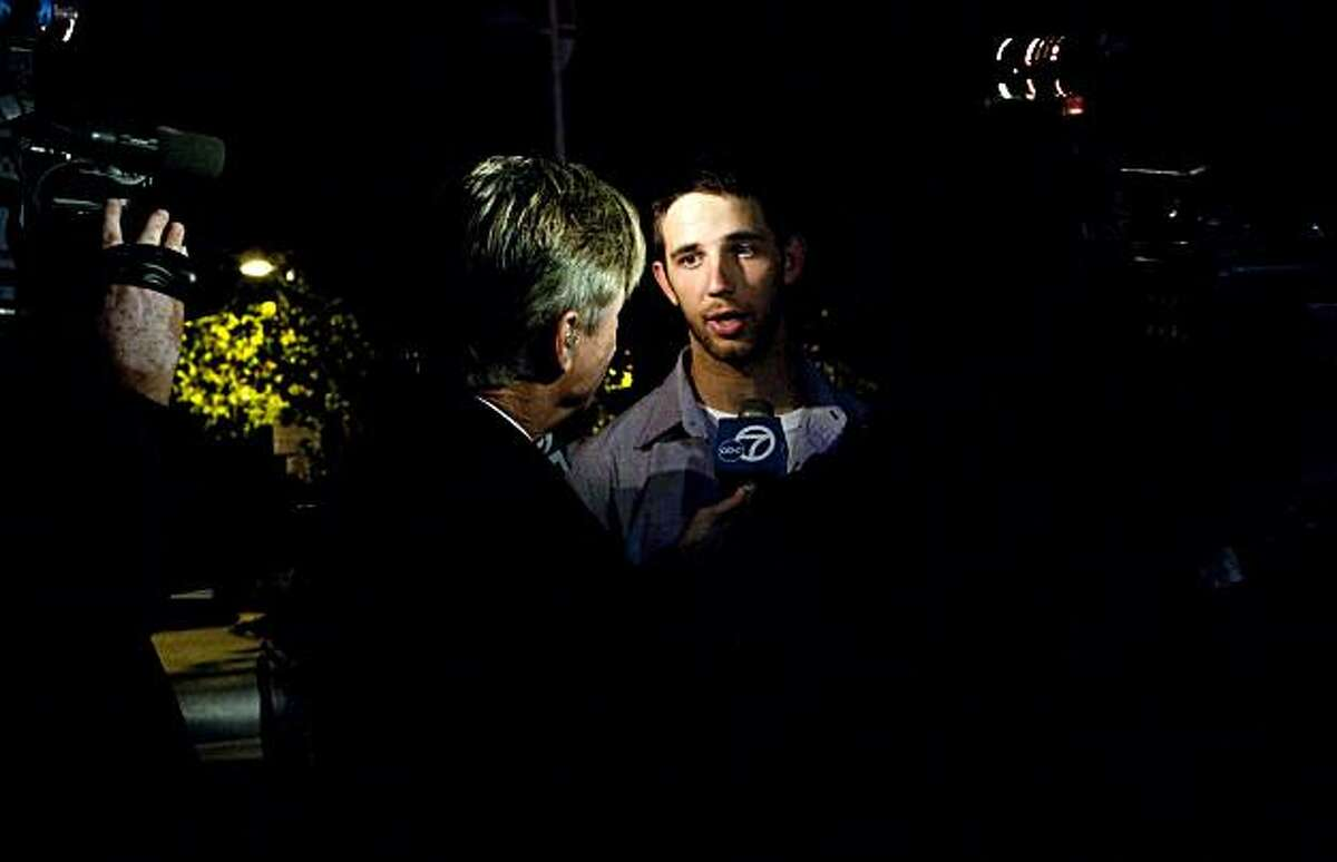 Madison Bumgarner speaks to reporters outside AT&T Park after returning home from Texas early in the morning in San Francisco, Calif., on Tuesday, November 2, 2010.