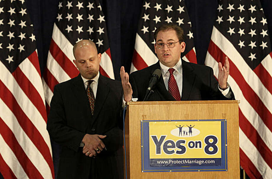 Andrew Pugno, general counsel for ProtectMarriage.com, right, speaks at a news conference with attorney Austin Nimocks at the University of California Hastings School of Law after closing arguments in the United States District Court proceedings challenging Proposition 8 in San Francisco, Wednesday, June 16, 2010. (AP Photo/Jeff Chiu) Photo: Jeff Chiu, ASSOCIATED PRESS