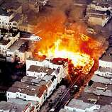 In this photo taken Tuesday, Oct. 17, 1989, a fire burns in the Marina District  after the Loma Prieta earthquake in San Francisco. Oct. 17, 2009, marks the 20th anniversary of the  Loma Prieta earthquake. (AP Photo/The Contra Costa Times, Bob Pepping)