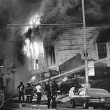 A building burning on Scott street in the Marina district of San Francisco after the Loma Prieta earthquake.