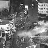 Aerial of the Marina district fires after the Loma Prieta earthquake.