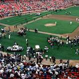 General view of the crowds in Candlestick Park after an earthquake, measuring 7.1 on the richter scale, rocks game three of the World Series between the Oakland A's and San Francisco Giants at Candlestick Park on October 17, 1989 in San Francisco, California.  Despite some discussion to cancel, baseball Commissioner Fay Vincent agrees to allow  the series to continue.  Play resumed October 25, and the A's go on to sweep the Giants in four games.  (Photo by Otto Greule Jr /Getty Images)