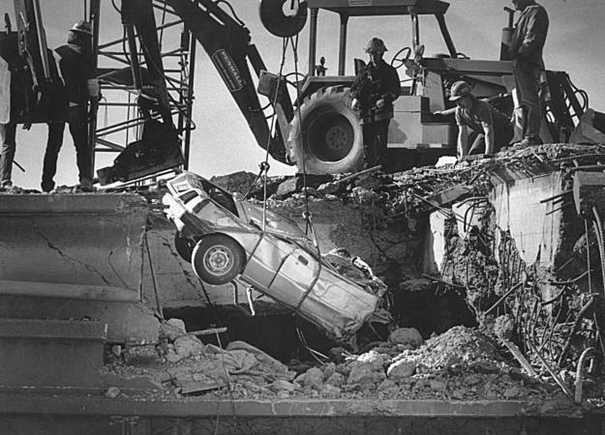 Car was damaged when the Cypress Freeway collapsed on top of the lower deck during the 7.1 1989 Loma Prieta earthquake.