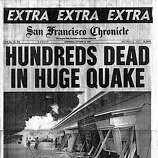 San Francisco Chronicle front page on Oct. 18, 1989, after the 7.1 Loma Prieta Earthquake that shoot San Francisco and the Bay Area along the San Andreas fault line. The dead count was later revised to about 70.  The edition was manually pasted up using Macintosh computers, laser printers, and Xerox machines, powered by a gas generator.