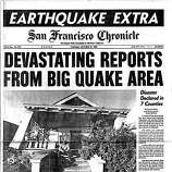 San Francisco Chronicle front page on Oct. 19, 1989, after the 7.1 Loma Prieta Earthquake that shook San Francisco and the Bay Area along the San Andreas fault line.  The edition was manually pasted up using MacIntosh computers, laser printers, and Xerox machines, powered by a gas generator.