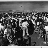 Residents gather at the Marina Green for a meeting with Mayor Agnos. San Francisco, Loma Prieta earthquake.