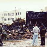 After the Loma Prieta earthquake some buildings in the Marina District were hollowed out by fire, while others were completely lost, as depicted in this reader-submitted photo taken days after the quake.