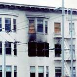 This reader-submitted photo shows a building still standing, but damaged by fire after the Loma Prieta earthquake.