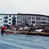 This reader-submitted photo depicts the destruction of an entire residential block in the Marina District after the 1989 Loma Prieta earthquake.