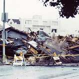 This reader-submitted photo, taken at the intersection of Alhambra and Cervantes in the Marina District, shows the devastation left in the Loma Prieta earthquake's wake.