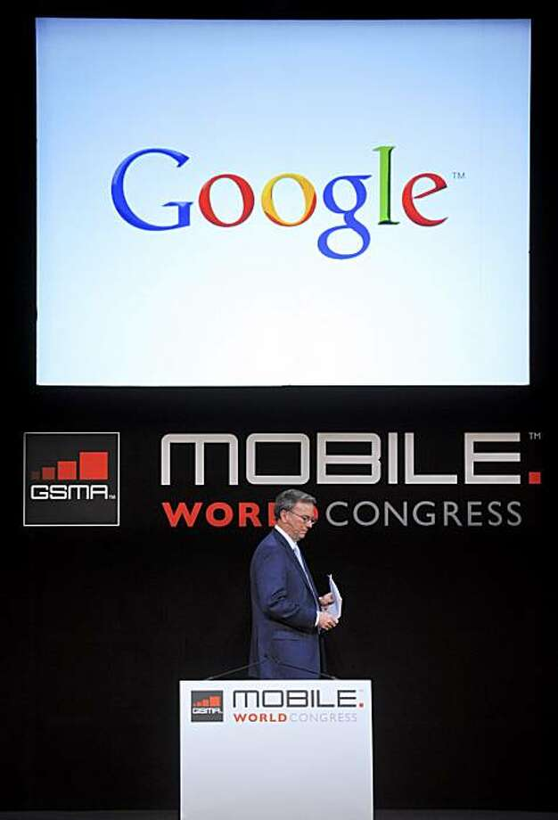 Eric Schmidt, chairman and chief executive officer of Google Inc., pauses during a keynote address at the Mobile World Congress (MWC) 2011 in Barcelona, Spain, on Tuesday, Feb. 15, 2011. The Mobile World Congress takes place at Fira de Barcelona conference center Feb. 14-17. Photographer: Denis Doyle/Bloomberg *** Local Caption *** Eric Schmidt Photo: Denis Doyle, Bloomberg