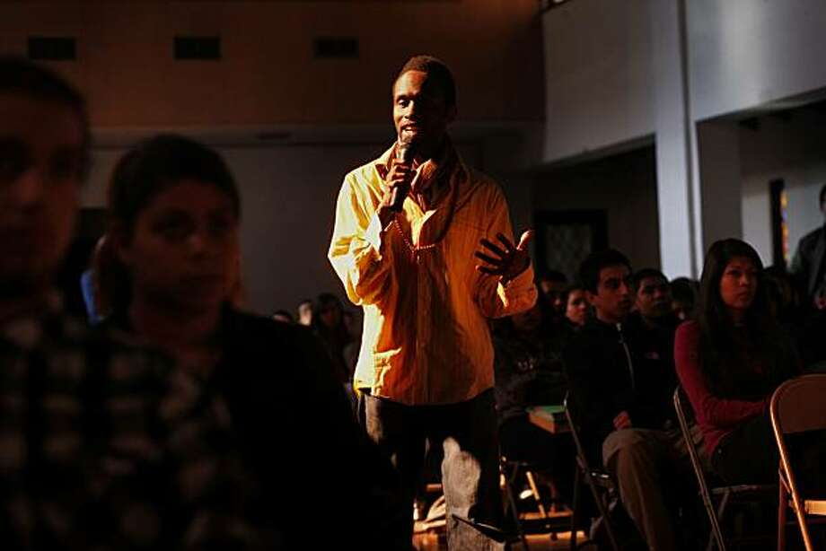 Ambessa Cantave, with The Alliance for Climate Change , an Oakland-based national nonprofit, gives a hip talk about global warming to a group of students at Oakland Unity High School students on Friday February 11, 2011 in San Francisco, Calif. Photo: Mike Kepka, The Chronicle