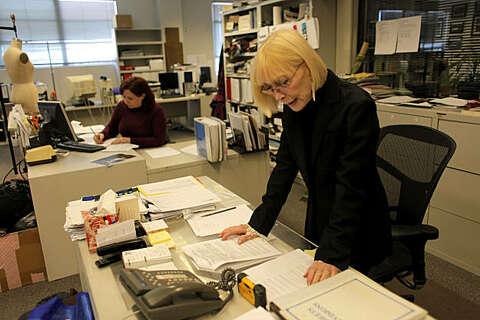 48a4b0c818 Designer Jessica McClintock works at her headquarters