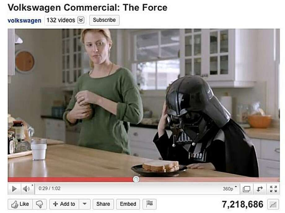Volkswagen's 2011 Super Bowl ad for the Passat has garnered over 7 million views on youtube before the game has even been played. Photo: None, Youtube.com