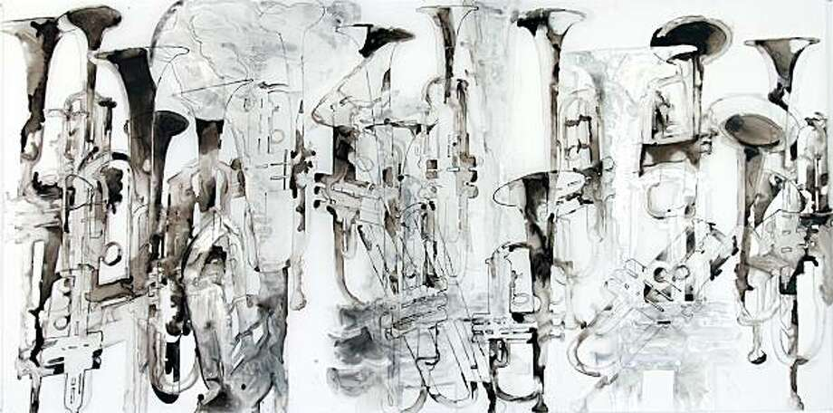 """Channeling Gorky"" (2010) ink on Mylar by Katina Huston  36"" x 72"" Photo: Richard Morgenstein, Dolby Chadwick Gallery, S.f."