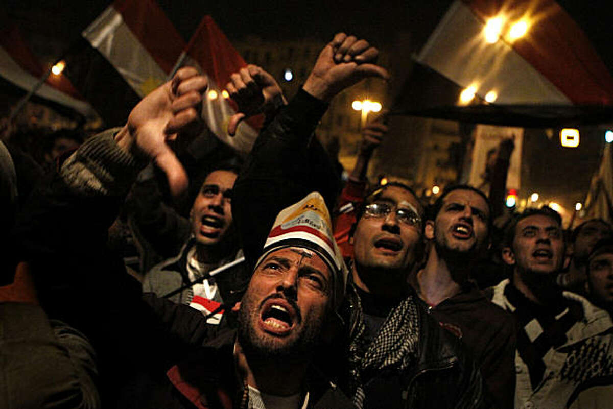 Egyptians erupt in anger as they react to President Hosni Mubarak's speech, which was broadcast on Tahrir Square in Cairo, Egypt, on Thursday, February 20, 2011, in which Mubarak announced that he was not stepping down. (Rick Loomis/Los Angeles Times/MCT)