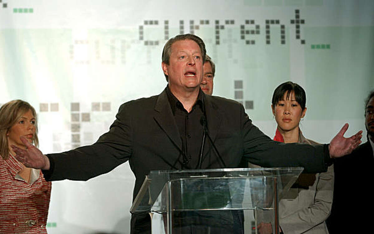 Former Vice President Al Gore gestures during a news conference at IndTV offices in San Francisco, Monday, April 4, 2005 as he unveils the new television network, Current, aimed at young, hip and liberal viewers. (AP Photo/Paul Sakuma)