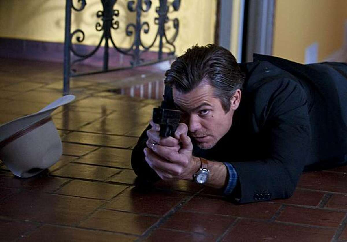 JUSTIFIED starring Timothy Olyphant as an U.S. Marshal Raylan Givens.