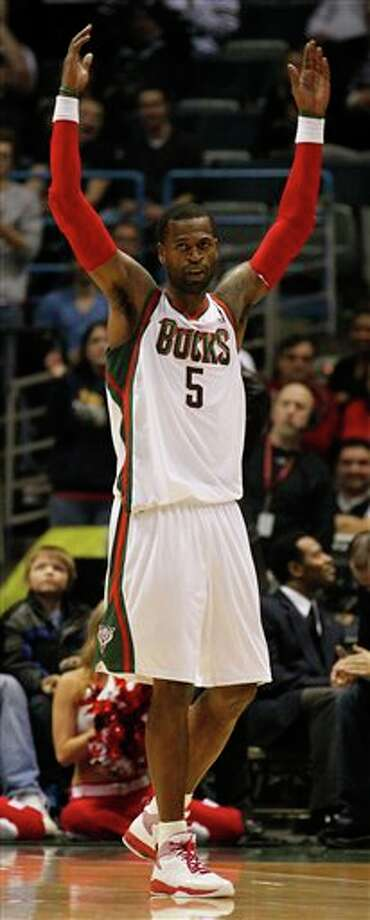 Milwaukee Bucks' Stephen Jackson(5) reacts against the San Antonio Spurs during the second half of an NBA basketball game, Tuesday, Jan. 10, 2012, in Milwaukee. The Bucks won 106-103. Jackson lead all scorers with 34 points. (AP Photo/Jeffrey Phelps) Photo: Associated Press