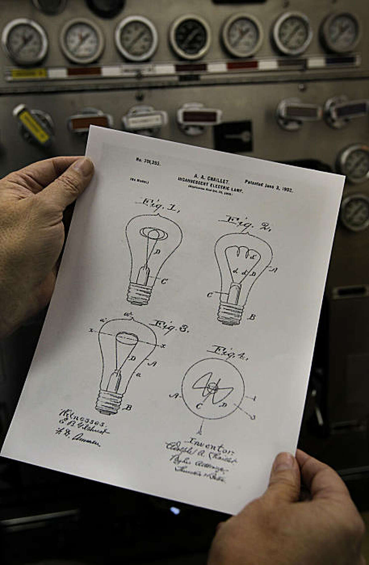 A patent for the light bulb was applied for by Adolph Chaillet of Shelby Lamp Works and approved in 1902. The longest burning light bulb, as declared by the Guinness Book of World Records and Ripley's Believe-It-or-Not, hangs from the ceiling of Livermore fire Station #6 on Thursday Feb. 3, 2011, in Livermore, Ca. The light bulb was first switched on at fire department hose cart house on L Street in Livermore in 1901.