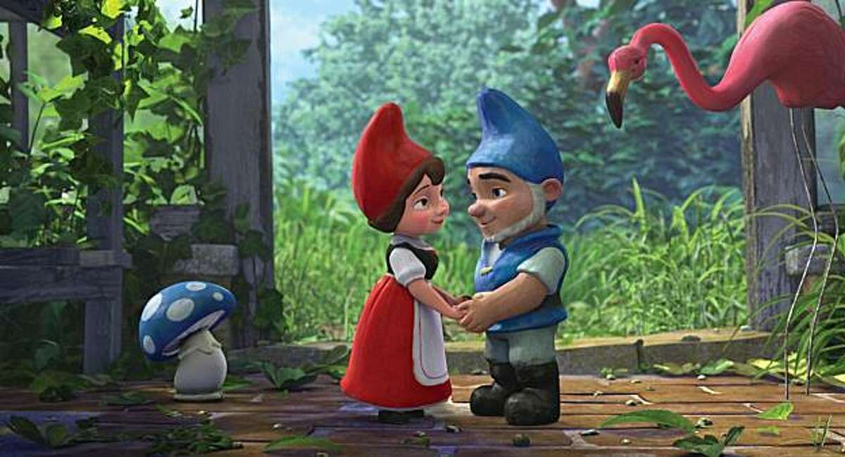 """""""Gnomeo and Juliet."""" Voices of James McAvoy and Emily Blunt."""