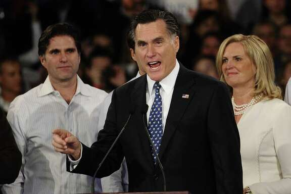 Republican presidential hopeful Mitt Romney addresses a primary night victory rally in Manchester, New Hampshire, January 10, 2012. AFP PHOTO/Emmanuel Dunand (Photo credit should read EMMANUEL DUNAND/AFP/Getty Images)