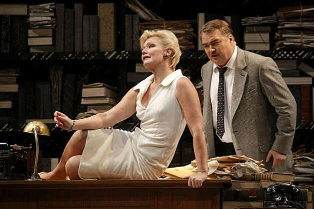 "(From left) Karita Mattila as Emilia Marty and Miro Dvorsky as Albert Gregor in the San Francisco Opera production of ""The Makropulos Case"" during a final dress rehearsal at the War Memorial Opera House in San Francisco, Calif., on Nov. 07, 2010. Photo: Michelle Gachet, The Chronicle"