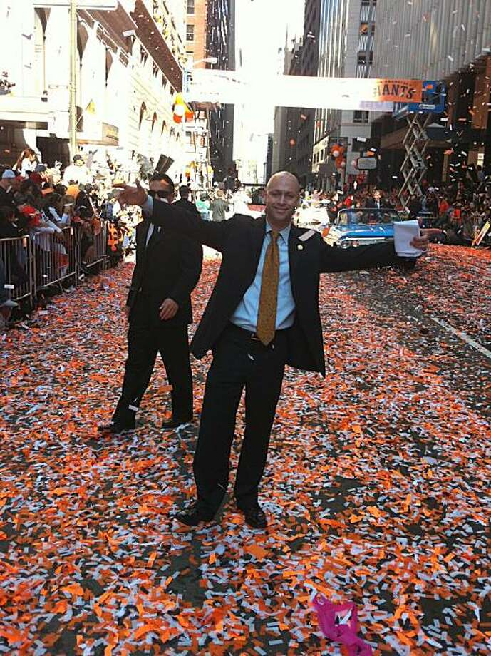 Tony Winnicker, spokesman for former Mayor Gavin Newsom, is stepping down from that position on Thursday (2/03/2011). He is picture here at the Giants' World Series parade on 11/03/2010. Winnicker stayed on after Newsom left office to assist interim Mayor Ed Lee. Photo: Jason Elliott, Special To The Chronicle