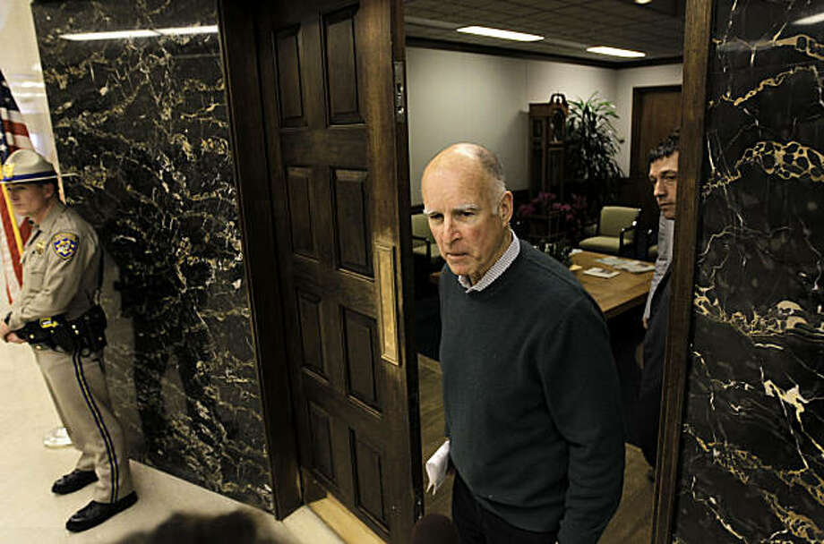 Governor Jerry Brown, at the front entrance of his new office at the State Capital building in Sacramento, Ca., on Friday Jan. 28, 2011. Governor Brown is settling into his new office in the Capital building. Photo: Michael Macor, The Chronicle