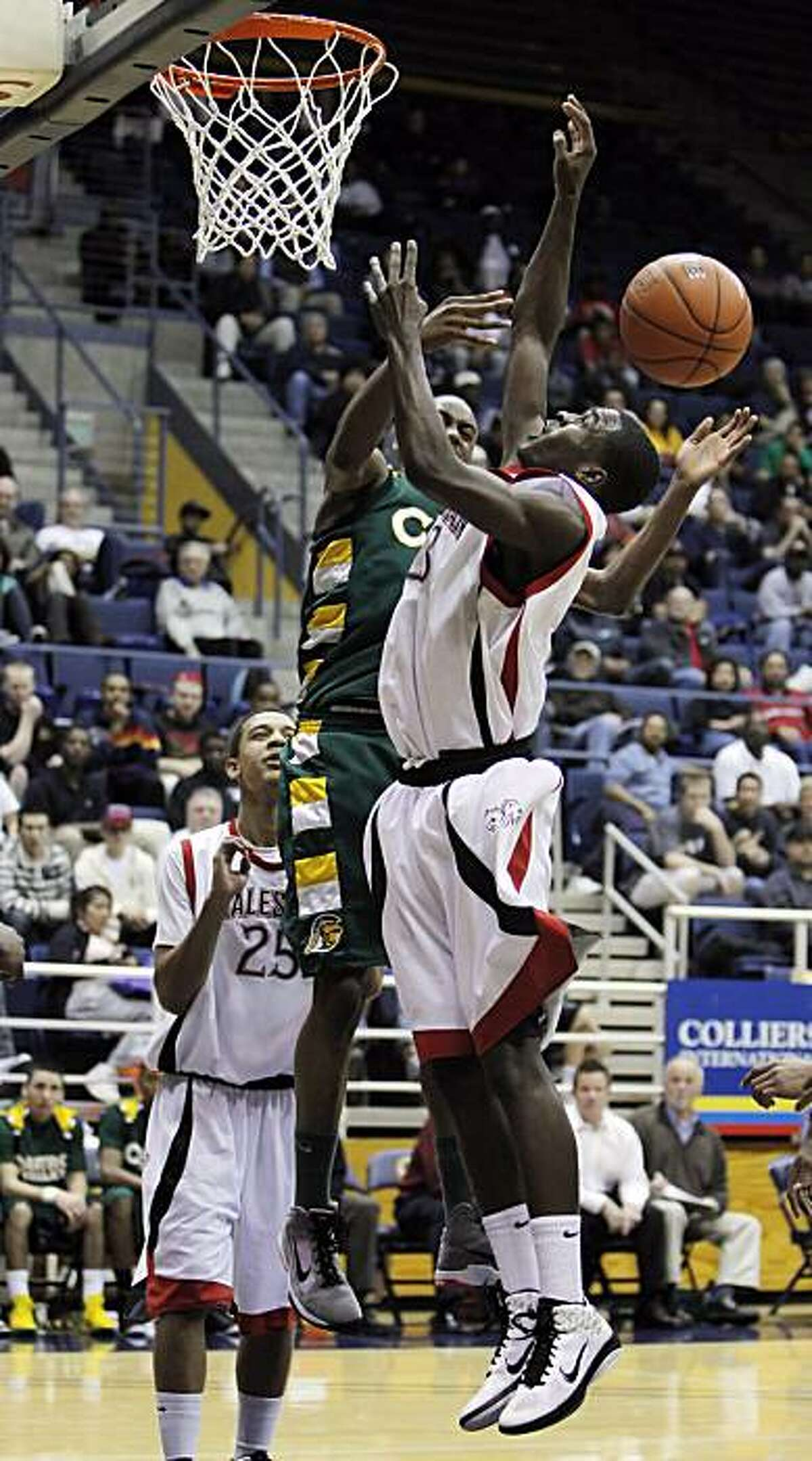 Salesian's Jabari Bird tries to bring in a rebound in the first half. The Salesian Pride takes on the Castro Valley Trojans as part of the Martin Luther King Classic basketball tournament at Haas Pavilion on the UC Berkeley Campus in Berkeley, Calif., on Monday, January 17, 2011.
