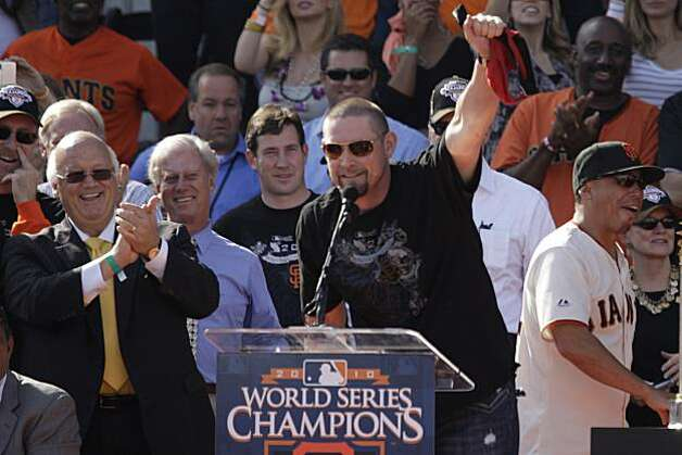 San Francisco Giants' Aubrey Huff waves a red thong in the air during the ceremony in front of City Hall after the Victory parade celebrating the San Francisco Giants win in the 2010 World Series on Monday November 3, 2010 in San Francisco, Calif. Photo: Lea Suzuki, San Francisco Chronicle