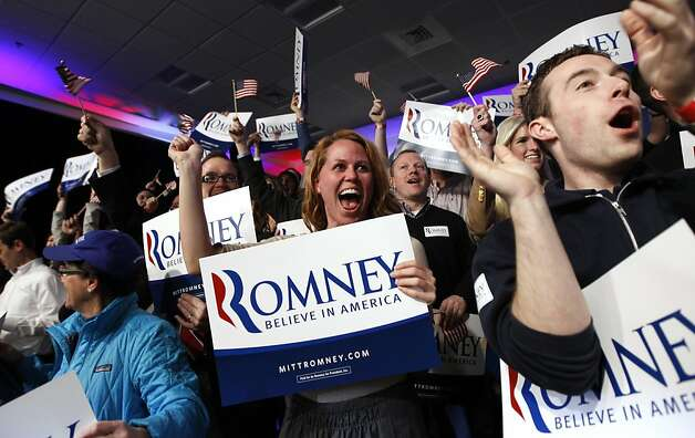 Supporters of Republican presidential candidate, former Massachusetts Gov. Mitt Romney, react as it was declared that he was the winner of the New Hampshire primary rlection at his reception in Manchester, N.H., Tuesday, Jan. 10, 2012. (AP Photo/Charles Dharapak) Photo: Charles Dharapak, Associated Press